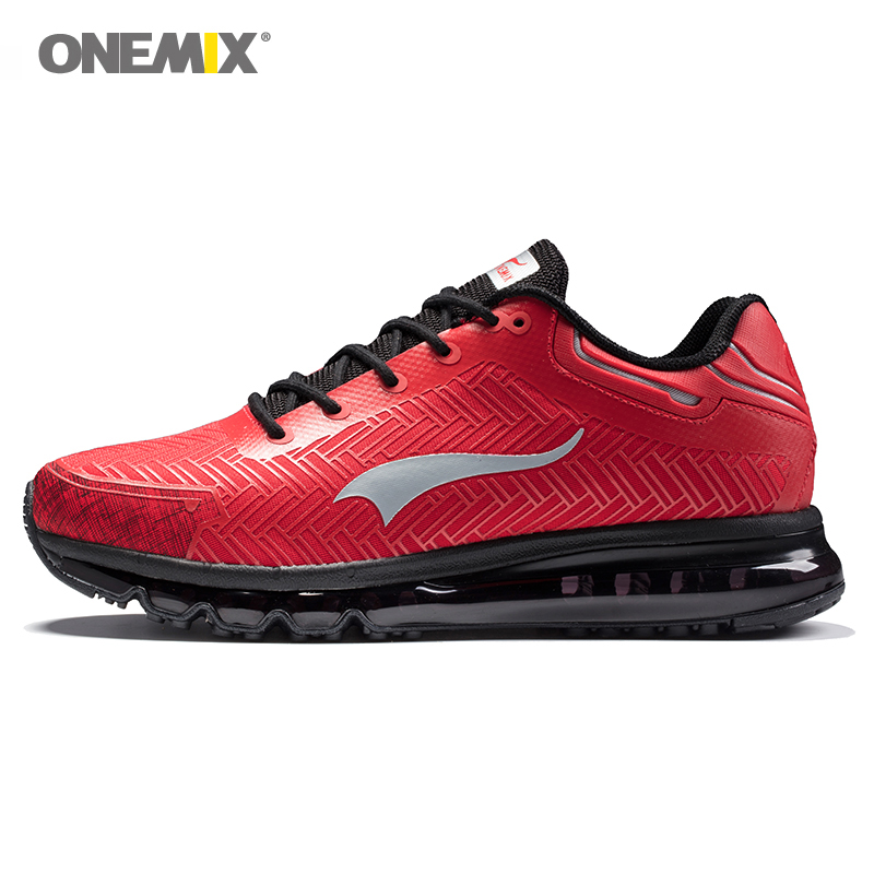 Onemix men's running shoes red jogging shoes outdoor walking shoes good sports sneakers black adult athletic trekking sneakers-in Running Shoes from Sports & Entertainment    1