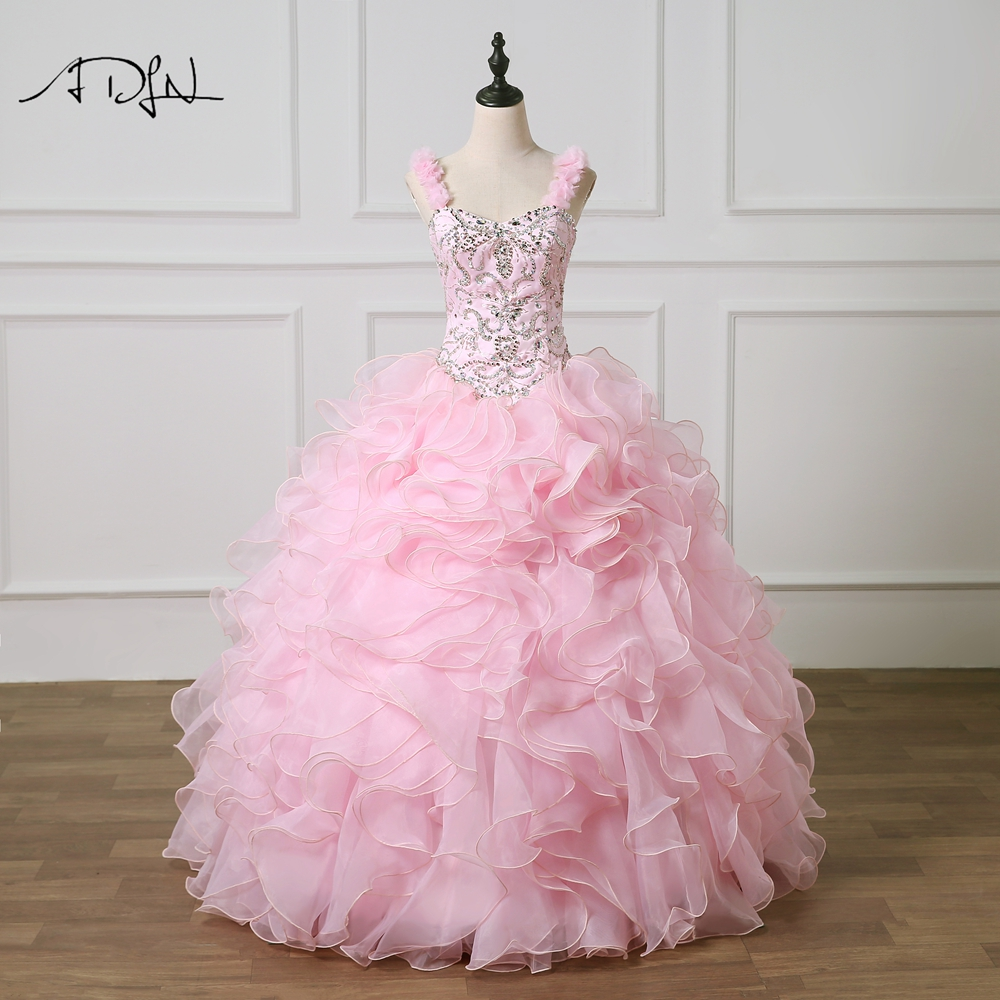ADLN Spaghetti Straps Pink Quinceanera Dresses Vestido 15 Anos Ball Gown Organza Masquerade Gown Heavily Beaded Prom Dress