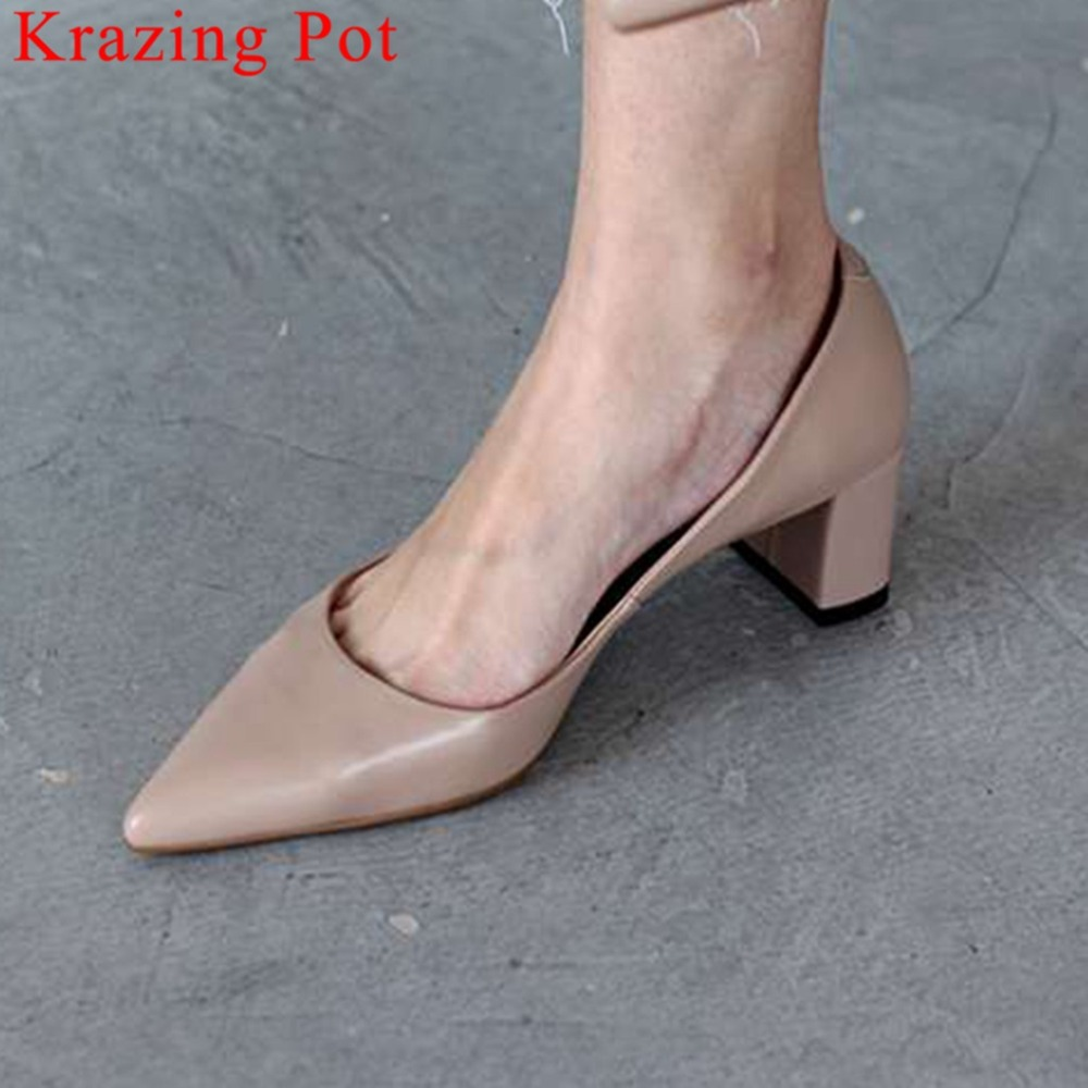 2019 woman brand fashion dress woman pumps full grain leather block med heels slip on office