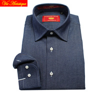 Male Long Sleeve Business Formal Dress Navy Jeans Cotton Shirts Men S Big Plus Size Casual