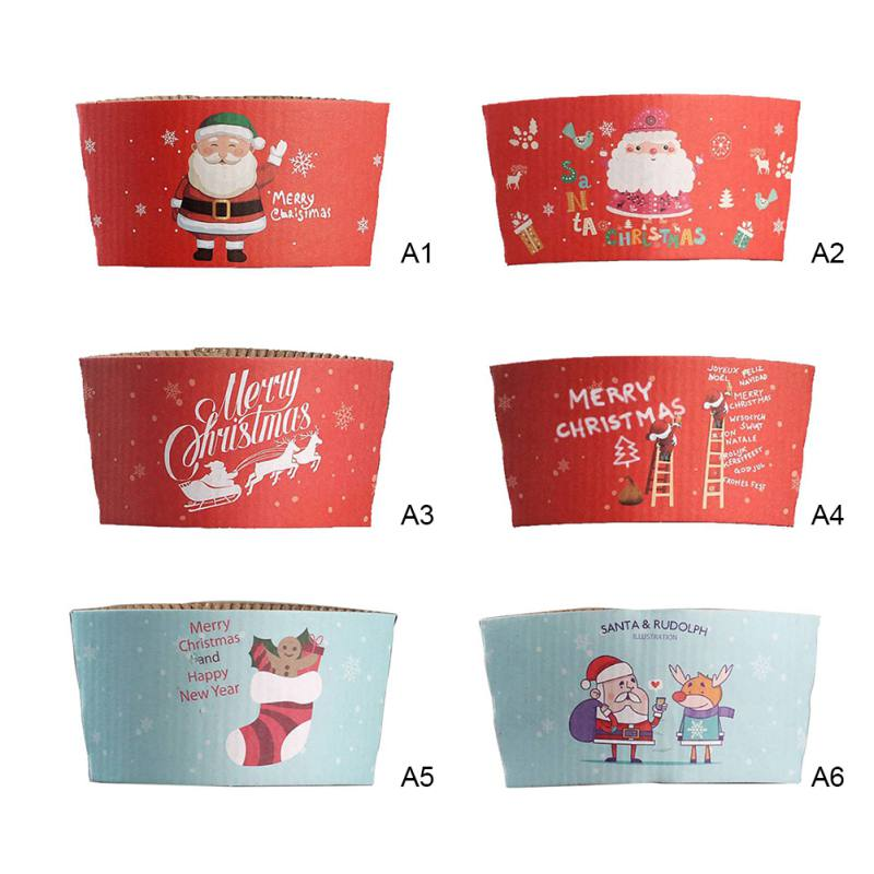 Coffee Cups Set Sleeves Disposable Coffee Cups Lifestyle Double-deck Kraft Paper Cup Sleeve Anti-hot Customized Elastic