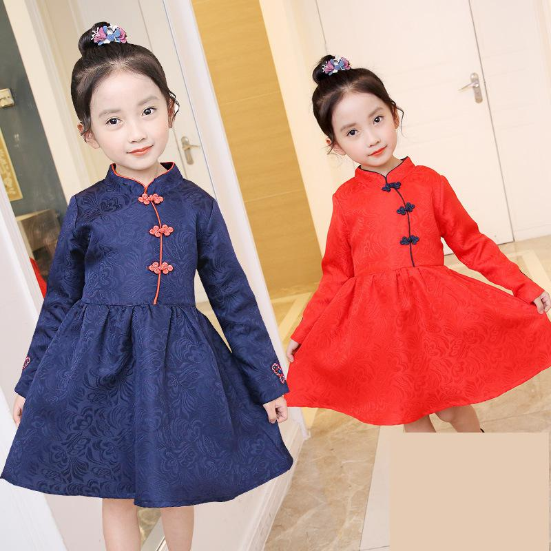 2017 Girls Dresses Kids Winter Velvet Dress Baby Girls Chinese Princess Cheongsam Clothes Thick Floral Embroidery Dresses Qipao dress coat traditional chinese style qipao full sleeve cheongsam costume party dress quilted princess dress cotton kids clothing