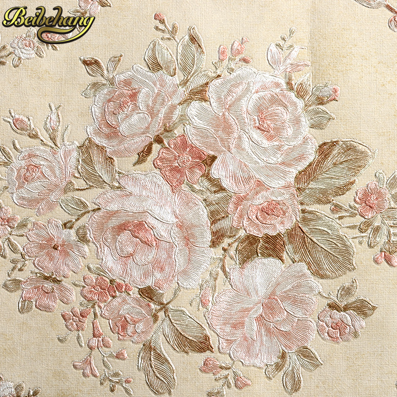 beibehang  3d wall murals wallpaper for walls 3 d floral rolls flocking living room bedroom papel de parede 3d wall paper roll