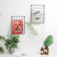 Nordic Modern Grid Magazine Newspaper Storage Basket Barrel Wine Grocery Style Wall Shelf Metal Wire Bracket Table Display White