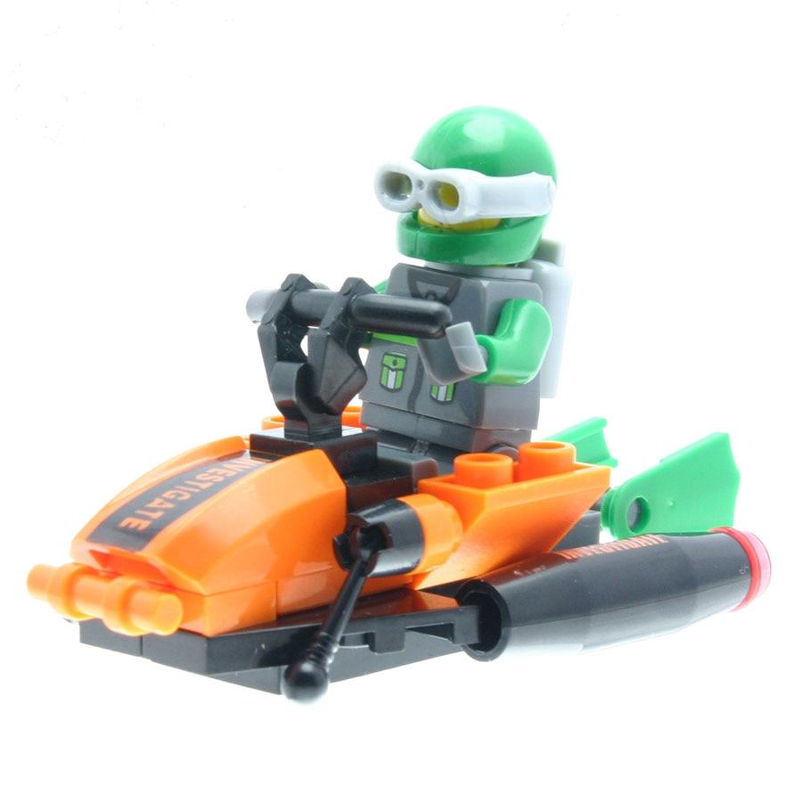36Pcs/set Jet-powered Hydrofoil Model Figures Designer Toys for Children Model Building Sets Compatible with All Brands DT0053