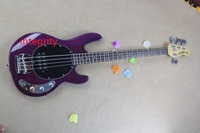 Wholesale High Quality 4 Strings Bass Music Man StingRay 4 String Purple Electric Bass Free Shipping
