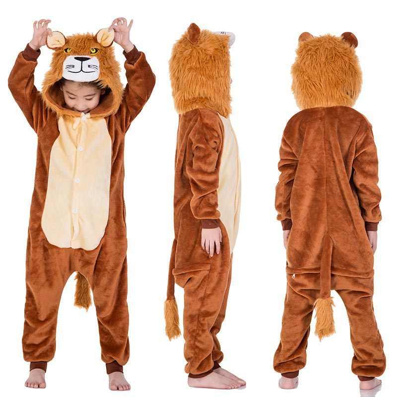 Kigurumi ילדים האריה סרבל תינוקות מצחיק פיג בנות מסיבת ליל כל הקדושים תלבושות קרנבל סרבל החורף חם סרבל הלבשת