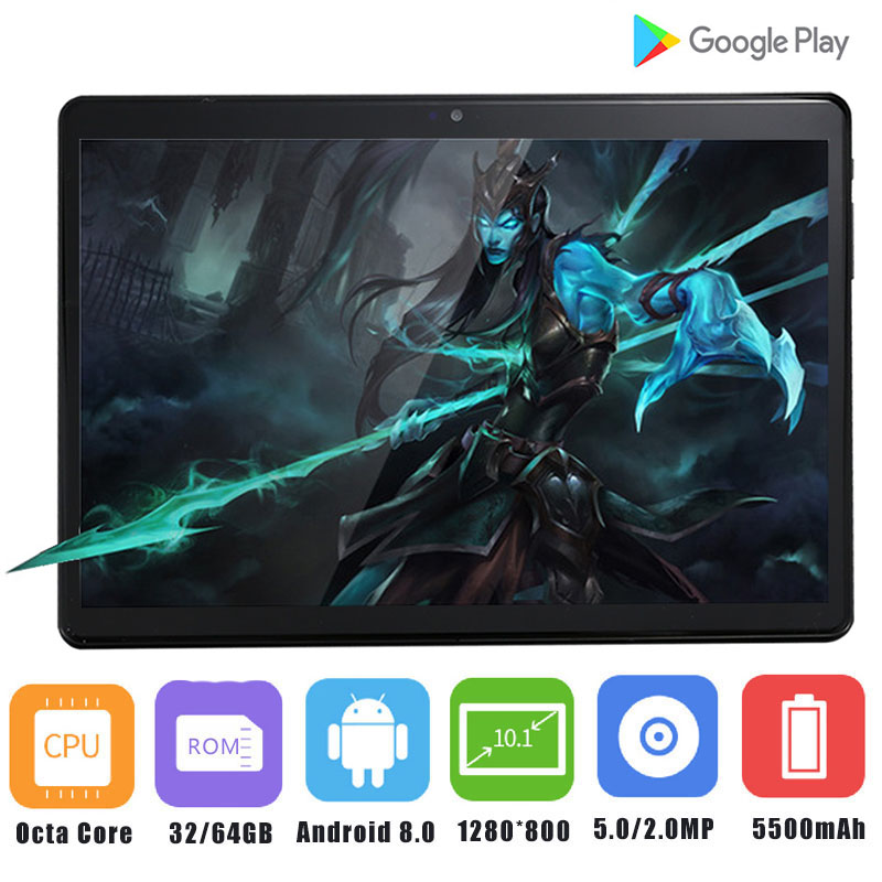 Super Tempered Glass 10 inch Tablet PC Android 8 0 3G 4G LTE Tablets 4GB RAM