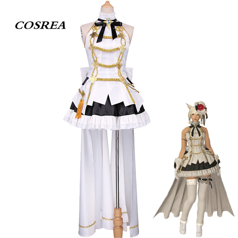 COSREA Hot Game Final Fantasy XIV Cosplay Costume Fancy Dress With Bow Hat Costumes Halloween Party For Adult Woman