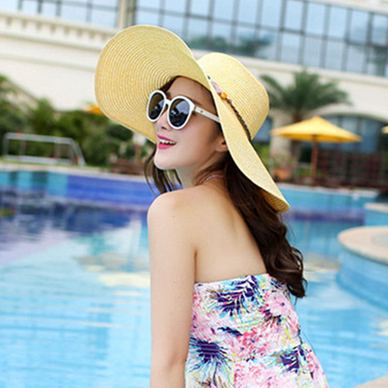 Foldable Summer Women 39 s Hat Fashion Ventilation Sun Hats Large Brim Sun Visor Anti UV Beach Hat With Wind Rope Sunscreen Hat in Women 39 s Sun Hats from Apparel Accessories