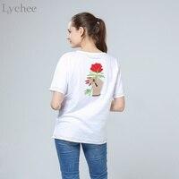 ライチ原宿ヴィンテージ韓国スタイル夏の女性tシャツ刺繍花ローズハンド半袖tシャツトップ
