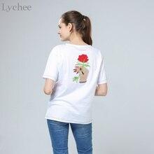 Lychee Harajuku Vintage Korean Style Summer Women T Shirt Embroidery Flower Rose Hand Short Sleeve Tee