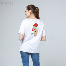 Lychee Harajuku Vintage Korean Style Summer Women T-Shirt Embroidery Flower Rose Hand Short Sleeve Tee Top