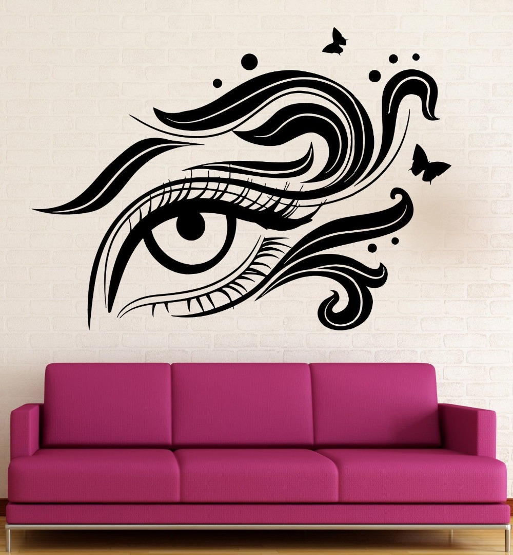 Wall stickers vinyl decal eye cosmetic makeup beauty salon girl wall stickers vinyl decal eye cosmetic makeup beauty salon girl woman in underwear from mother kids on aliexpress alibaba group amipublicfo Images