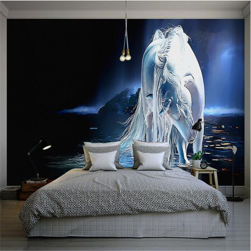 beibehang custom silk photo wallpaper HD Art blue romantic horse game world living room backdrop 3d large wall mural wallpaper