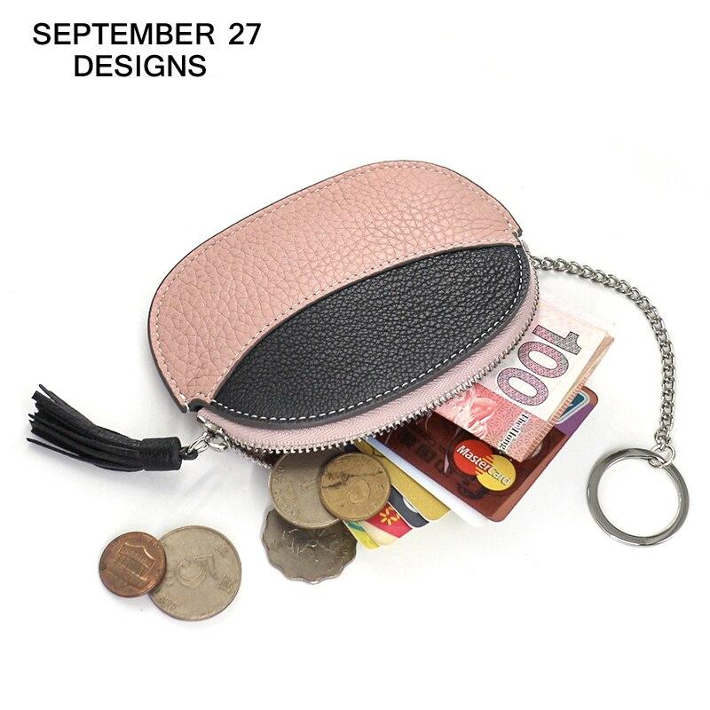 Coin Purse Women Mini Wallet cow genuine leather Fishion Girls change purses Female Coin bag Keychian lady Small Zipper wallets