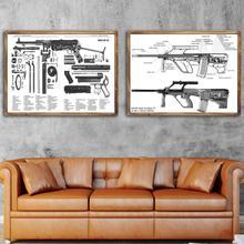 Vintage armas Steyr Aug anatomía ilustración Retro Poster lienzo pintura DIY adornos de pared de papel decoración del hogar regalo