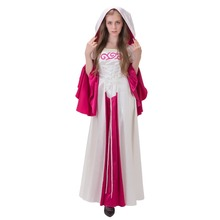 Medieval Renaisance Wedding Ball Gown White&Red Gown Romantic Gothic Vampire Dress Riding Hood Fairy Tale Cosplay Dress J112