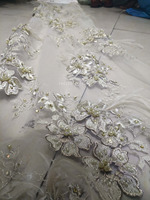 white feather handmade Lace, African french lace tulle fabric with 3D Appliques stones 5 yard