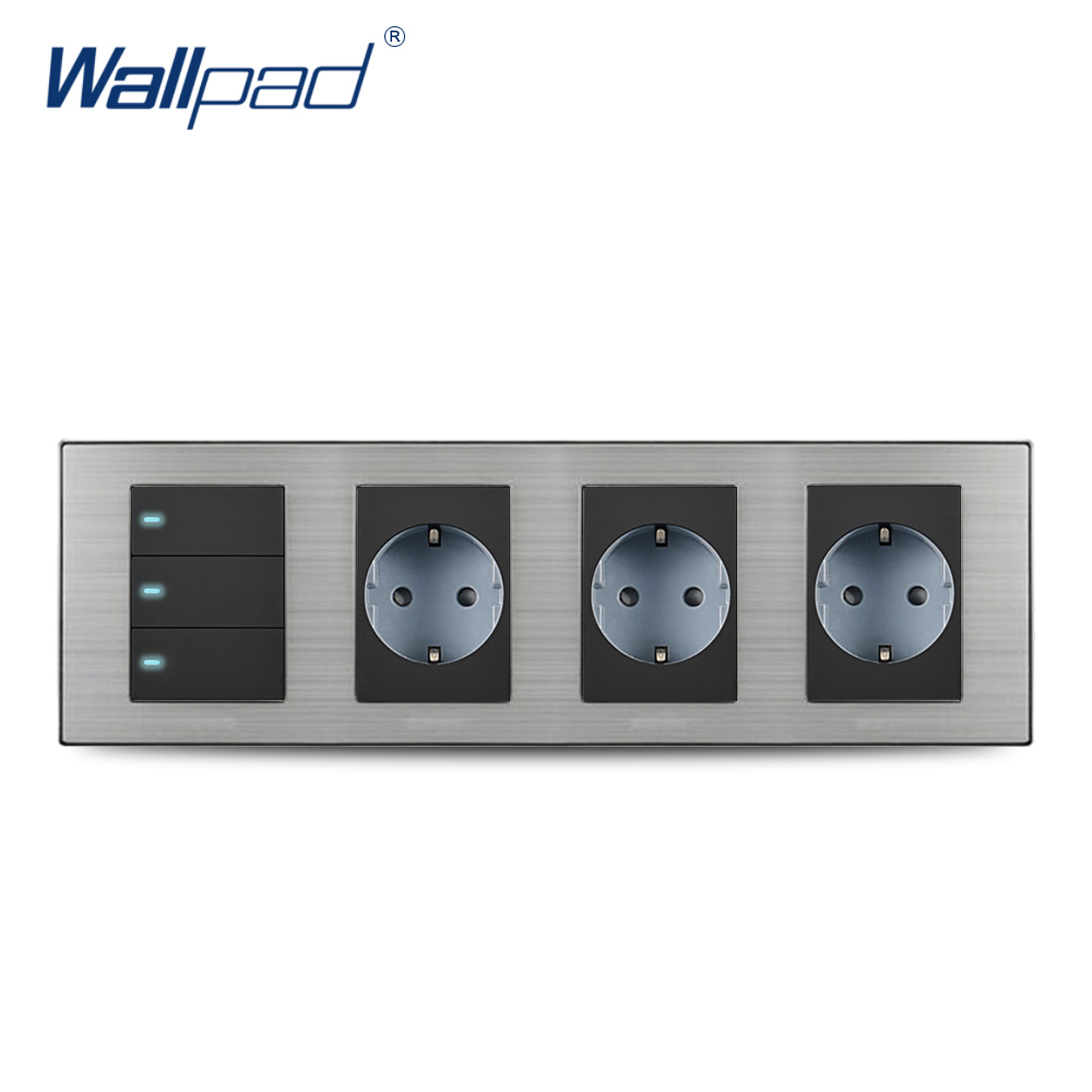 2018 Wallpad Hot Sale 3 Button 2 Way Switch With 3 EU Socket Schuko Luxury Wall Electric Power Outlet German Standard 308*86mm 15a 16a south africa socket and double ubs socket wallpad 146 86mm white glass 2 usb ports and 16a sa switched socket with led
