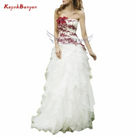 2019 Long Strapless Zipper Red Flower Applique Prom Dress White Layer Tulle Vestidos De Fiesta Largos Elegantes De Gala