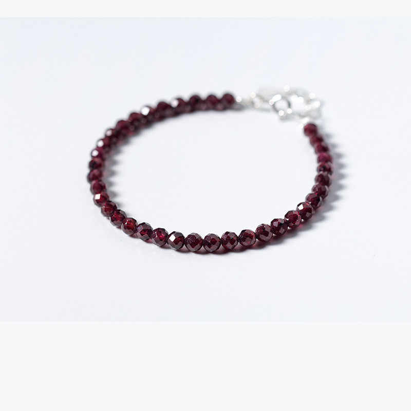 FXLRY מכירה לוהטת תכשיטים S925 סטרלינג כסף 4MM טבעי חמוד אדום גרנט אבן שרשרת צמידי אופנה נשים