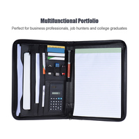 Multi function Office Organizer Zippered Portfolio Padfolio Folder for Documents A4 PU Leather Business Portfolio Memo Note Pad
