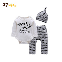 27 Kids Newborn Baby Clothes Boy Girls Clothing Long Sleeve Romper Bodysuit Pant Hat 3PCS Outfit