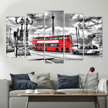 Street scenery art deco Europe canvas painting bus prints 5 psc modern wall picture for bedroom cafe parlor lobby restaurnat