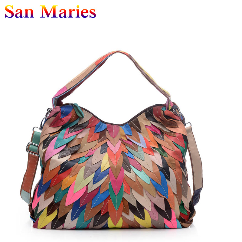 San Maries Ladies Tote Bag Striped Handbags Patchwork Women Shoulder Bag New Fashion Geniune Leather Casual Bags Totes san maries 100% genuine leather women handbags 2018 new arrival female korean fashion totes crossbody bag shoulder bags handbags