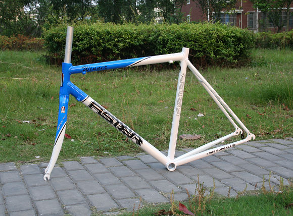 Aster Road Bike frame set alloy 700c road frame and carbon Fork 700C* 56cm Blue / white clear stock цена