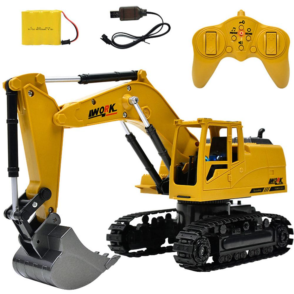 2.4G Alloy 1:24 RC Excavator Car Remote Control Constructing Truck Crawler Digger Model Electronic Engineering Truck RC Toy