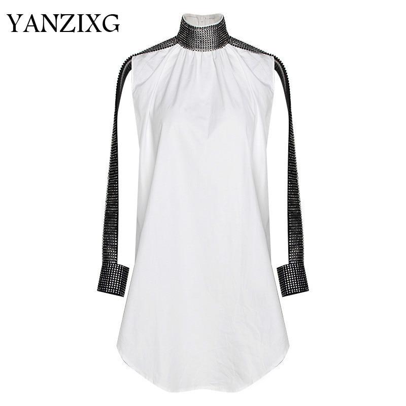 2019 nouveau printemps été col montant à manches longues blanc strass lâche grande taille chemise femmes Blouse mode marée W268