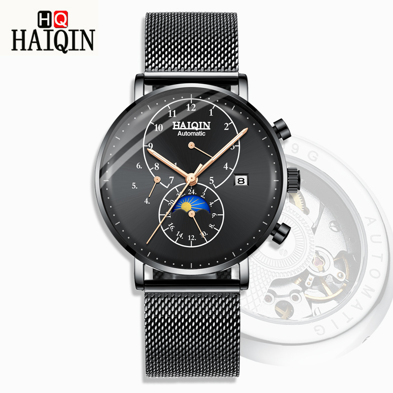 HAIQIN Mens Watches Watch Men 2019 New Top Gold Luxury Mens Mechanical Watch Business Casual Steel Waterproof Flywheel clockHAIQIN Mens Watches Watch Men 2019 New Top Gold Luxury Mens Mechanical Watch Business Casual Steel Waterproof Flywheel clock