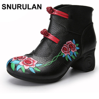 SNURULAN women 2017 winter fashion genuine leather handmade high heel vintage embroidery flower shoes short boots