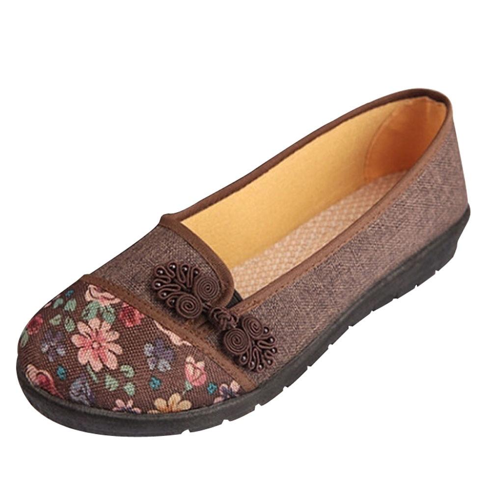 Women Shallow Broken Flower Round Toe Anti Skidding Cloth Shoes Casual Shoes 2018 New women casual flat shoes woman terlik 7