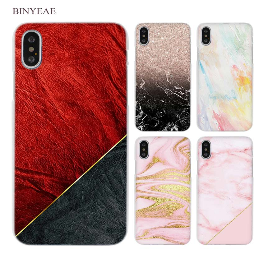 BINYEAE Pink marble rose gold Clear Cell Phone Case Cover for Apple iPhone X 6 6s 7 8 Plus 4 4s 5 5s SE 5c