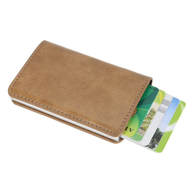 Men Women Multi Card Position Business Holder Alloy Leather Id Credit Protector