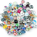 20pcs/lot Mix Styles Colors Snap Buttons Charms 18mm Print Glass Cabochon Fit DIY Snap Bracelets&Bangles Jewelry ZM025