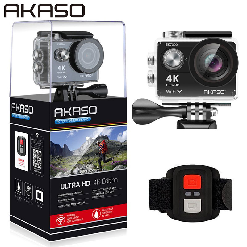 AKASO EK7000 4K WIFI Outdoor Camera Ultra HD Go Waterproof Mini Cam Pro Bike Video Sports Action DV Camera 2017 arrival original eken action camera h9 h9r 4k sport camera with remote hd wifi 1080p 30fps go waterproof pro actoin cam