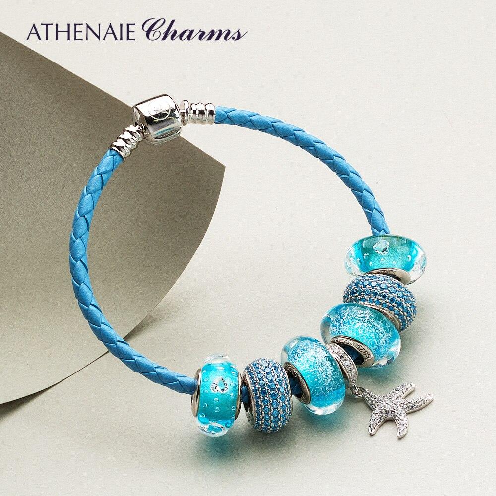 ATHENAIE Bonne Étoile Pendentif bracelets porte-bonheur et Bracelet En Cuir Tressé Bracelet avec Coeur CZ Bleu Perles Bijoux