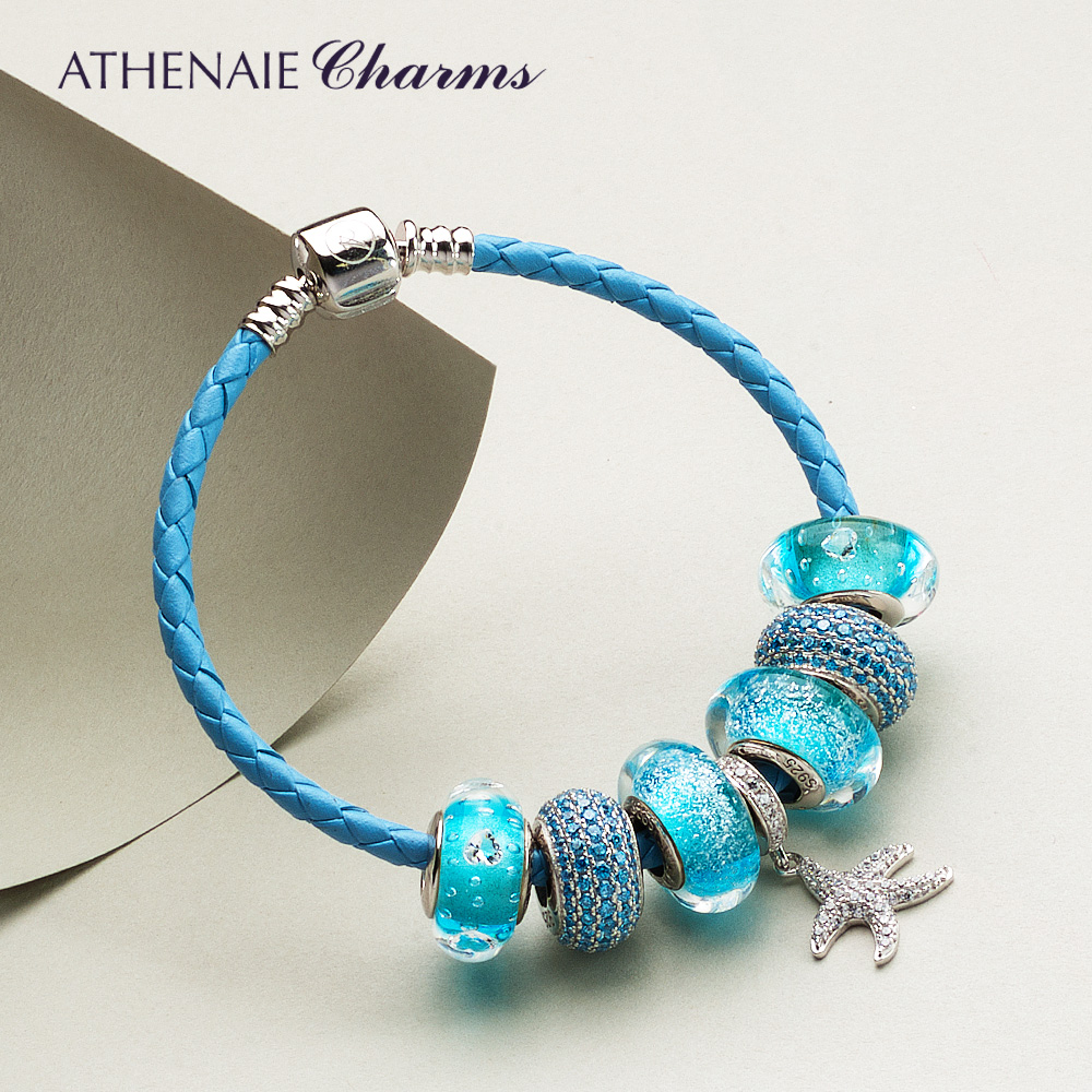 ATHENAIE Lucky Star Pendant Charm Bracelets & Bangle Leather Braided Bracelet with CZ Heart Blue Beads Jewelry blue stripe pattern tie up sleeveless triangle bikini