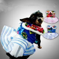 Lovely Rose Blue Traditional Floral Wedding Dress Dogs Clothes For Pets Dogs Winter Warm Cotton Puppy