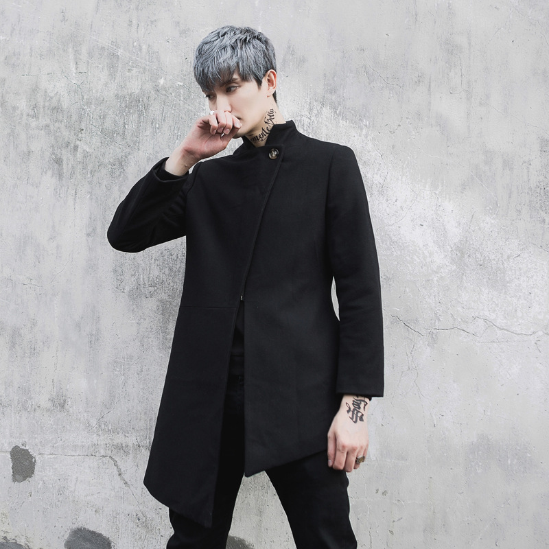 Men Asymmetric Design Wool   Trench   Coat Stage Costumes Male Fashion Casual Slim Fit Jacket