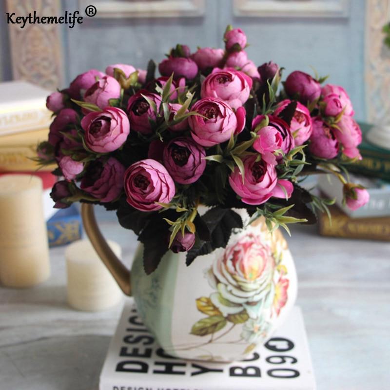 Keythemelife 2st / lot Artificial Flower Silk Flower Fake Leaf Rose - Semester och fester