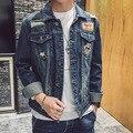 Новый 2017 мужская повседневная джинсовая куртка Мода вышивка джинсовая куртка