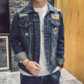 The new 2017 men's casual denim jacket Fashion embroidery denim jacket