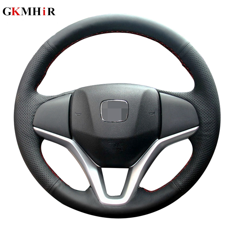 DIY Hand-stitched Black Artificial Leather Steering Wheel Cover for <font><b>Honda</b></font> <font><b>Fit</b></font> City Jazz 2014 <font><b>2015</b></font> HRV HR-V <font><b>2016</b></font> image