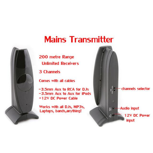 Silent Disco complete system black folding wireless headphones – Quiet Clubbing Party Bundle (5 Headphones + 1 Transmitter)