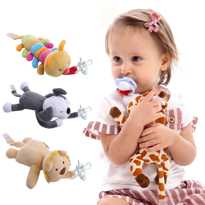 Animal Plush Baby Pacifier Clip Pacifier Chain Newborn Detachable Hanging Nipple Holder Infant Plush Toys